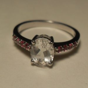 Sterling Silver White Sapphire Ruby Ring